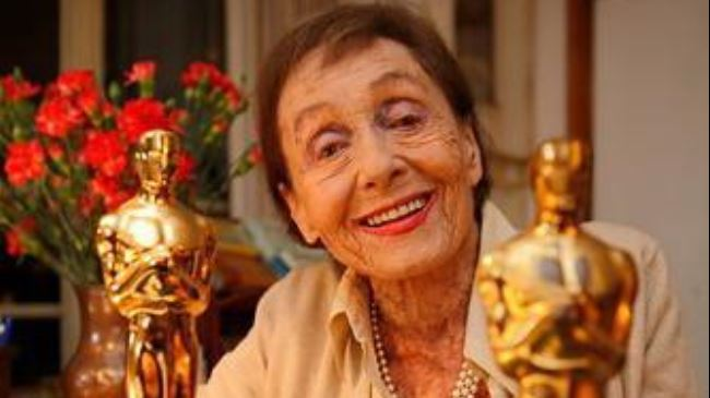 Luise Rainer with her Oscars