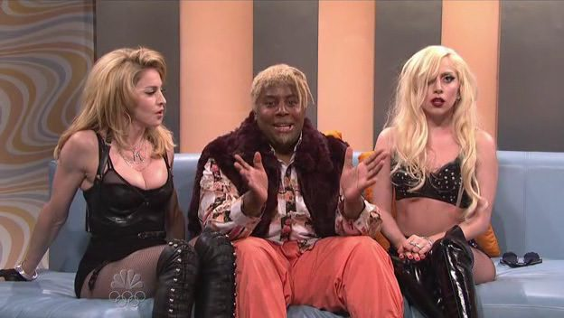 Madonna and Lady Gaga during a sketch in Saturday Night Live