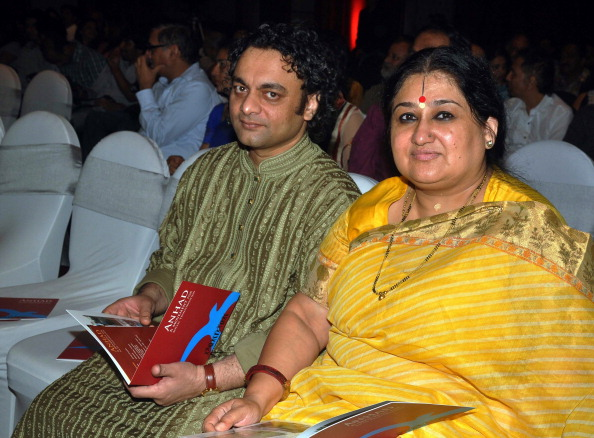 Shubha Mudgal with her husband and tabla player Anish Pradhan  Picture By: Getty Images
