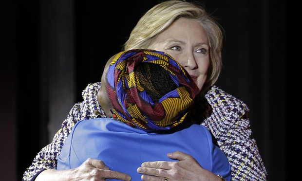 Hillary Clinton with Beatrice Biira at the Women in the World Summit Picture By: The Guardian