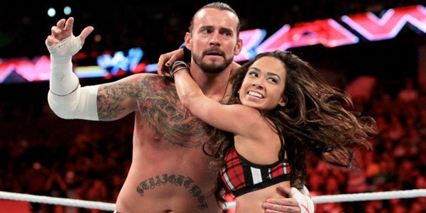 AJ Lee with CM Punk Picture By: Wrestling News Report