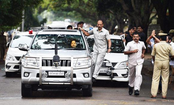 Jayalalitha after being released from jail Picture By: Arab News