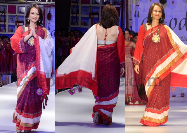 South Indian actress Amala Akkineni wearing a Pochampally Saree during a fashion show Picture By: Celebrity Saree.com