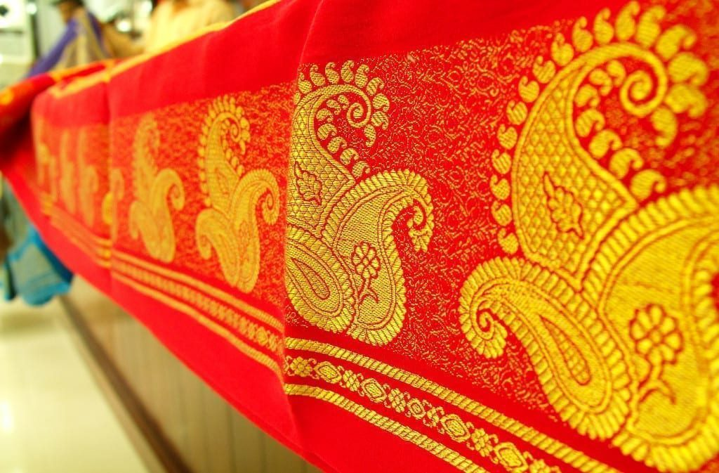 Mysore Silk saree with golden Zari border Picture By: Wikipedia