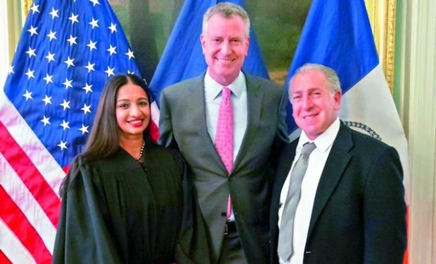Raja Rajeswari during her swearing-in ceremony in New York Picture By: Deccan Chronicle