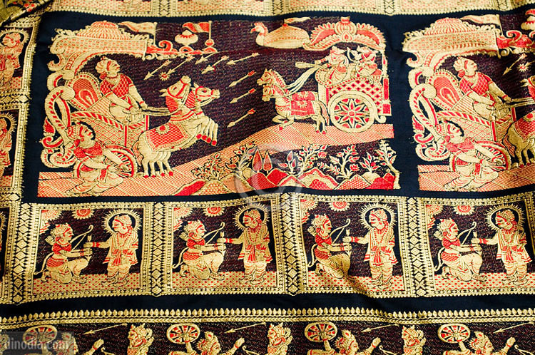 Baluchari saree with a scene from Mahabharata Picture By: Utsavpedia