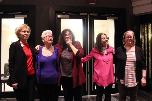 Marlene Sanders, Mary-Jean Collins, Mary Dore, Alice WolfSon and Nancy Kennedy share some light moments