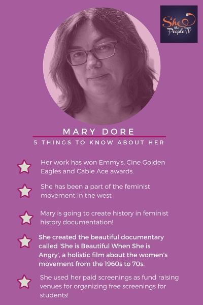 Infographic on the life and feminist contributions of Mary Dore
