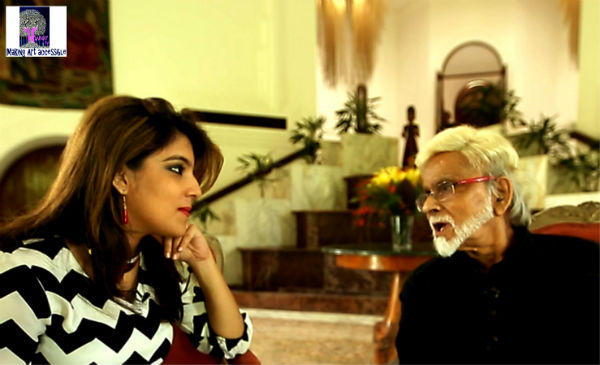 While interviewing master artist Satish Gujral for her webchannel Hunar TV