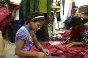 Young girls working for the garment industry