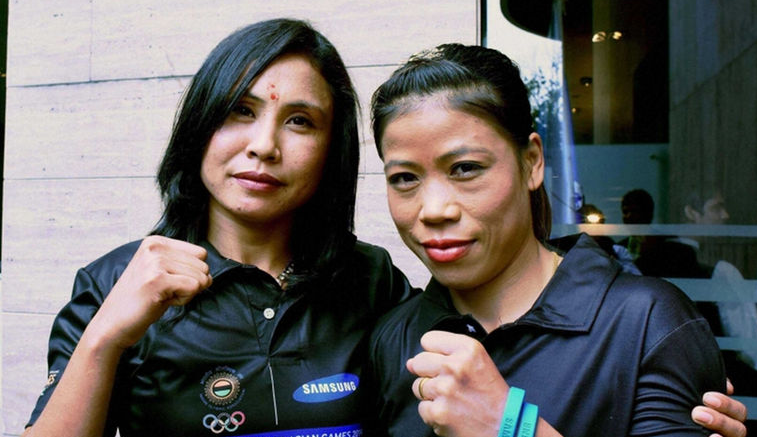 Women boxers Sarita Devi and Mary Kom