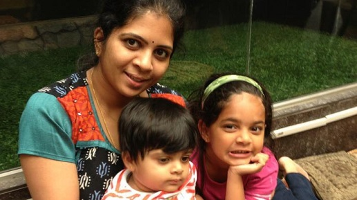 Subha Chandrasekaran with her children