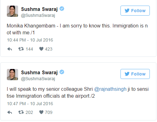 Here's how Sushma Swaraj tweeted about the incident with Manipuri woman