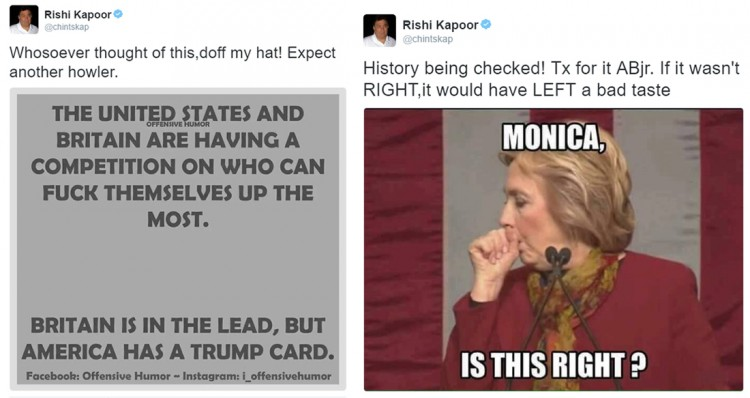 Rishi Kapoor puts out misogynistic tweet on Hillary Clinton, gets slammed on social media