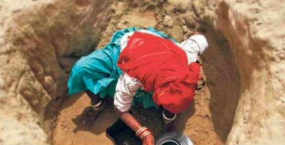 Tribal woman digs well in UP village