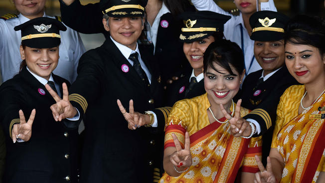 all-woman crew of Air India flight from New Delhi