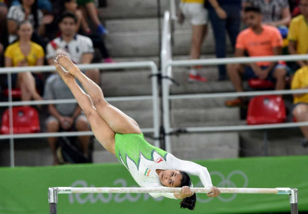 Dipa Karmakar performing a gymnastic act known as Produnov in the individual vault event