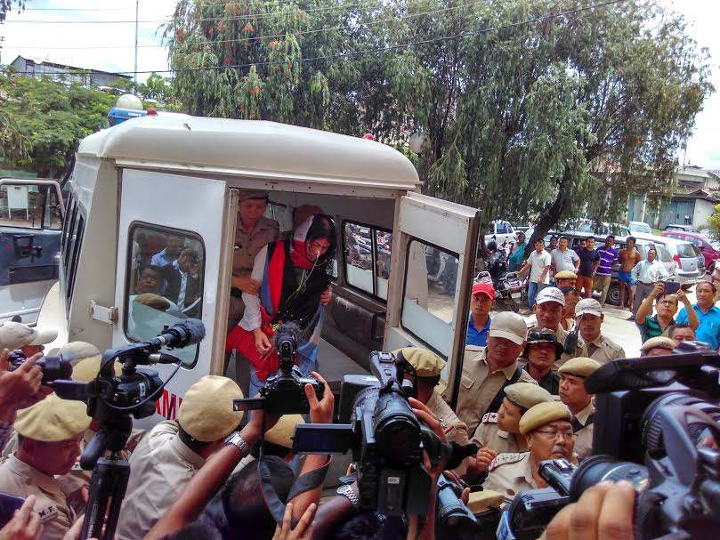 Irom Sharmila after her court appearance in Imphal.