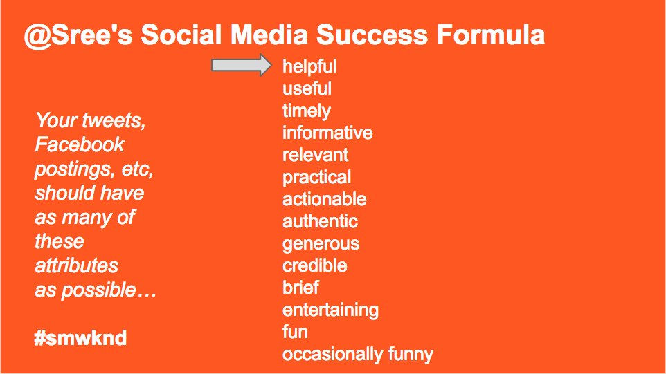 @Sree shares his tips for social media success.  Photo Courtesy: bit.ly/sreestatusreport