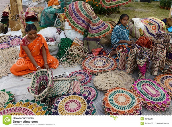 Rural women making jute bags