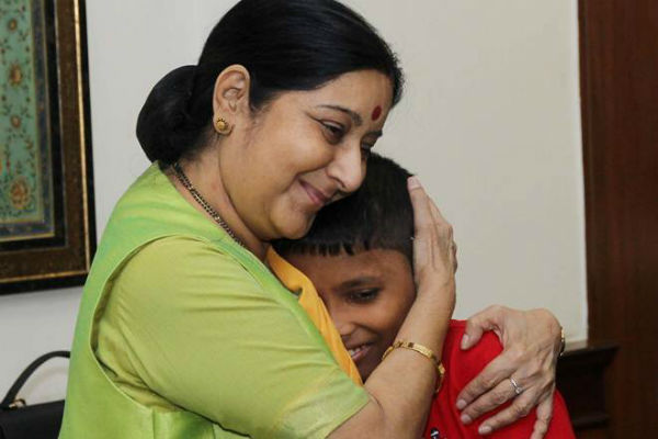 Sushma Swaraj with Sonu