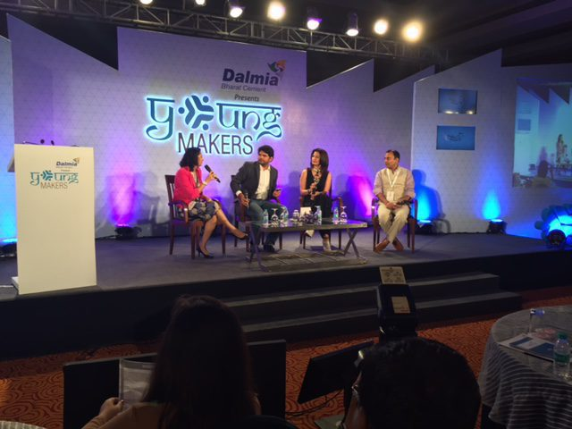 Shaili Chopra moderates a panel discussion with Anant Goenka, Ritu Beri and Puneet Dalmia