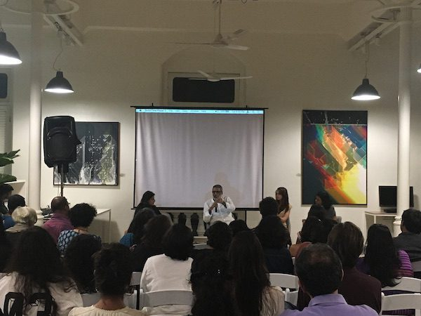 Bachelor Girls panel discussion with actress Kalki Koechlin, Aishwarya Subramanyam, Editor, Elle Magazine and Sidharth Bhatia, author & co founder, The Wire on urban trends in Mumbai, in particular gender and housing.