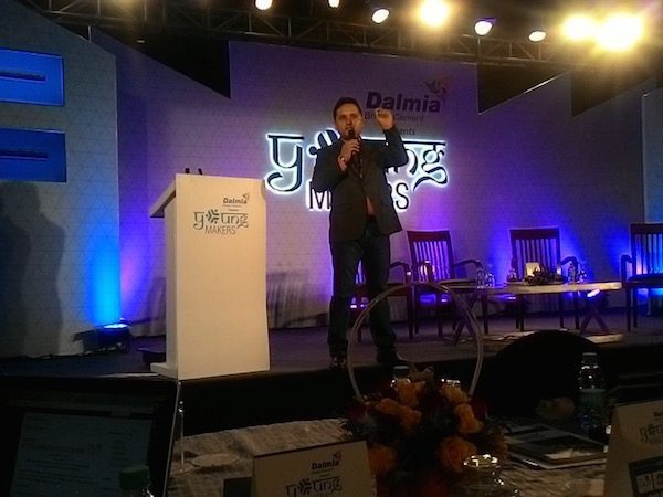 Amish Tripathi at the Young Makers Conclave in New Delhi, addressing the crowd.