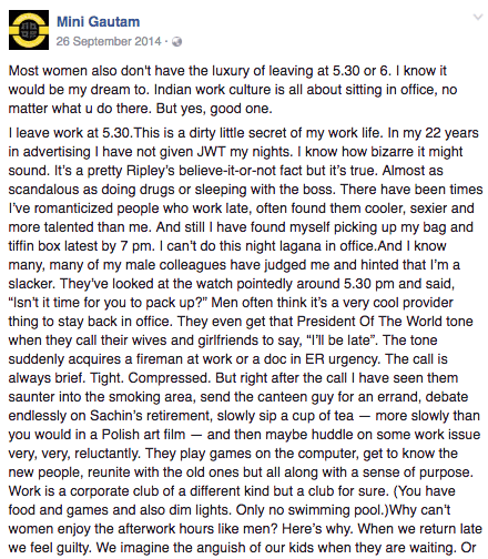An FB post about women at work that went viral in 2014.
