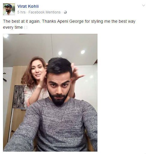 celebrity hair stylist Apeni George styles Virat Kohli