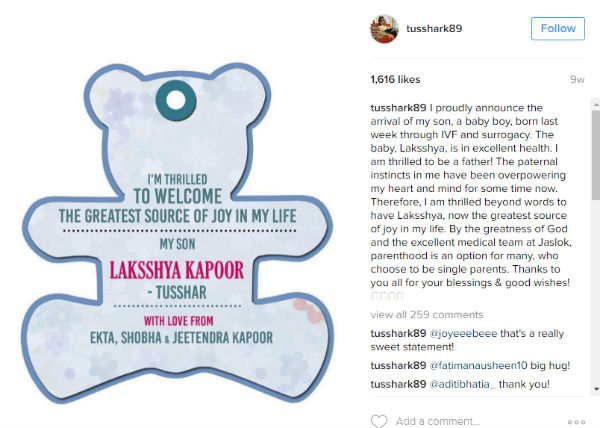 Tusshar Kapoor on surrogacy