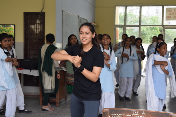 Pooja Nagpal teaching girls self defence