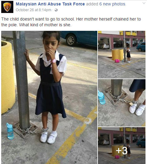 8-Year-Old's Mother Shackles Her To A Lamp Post