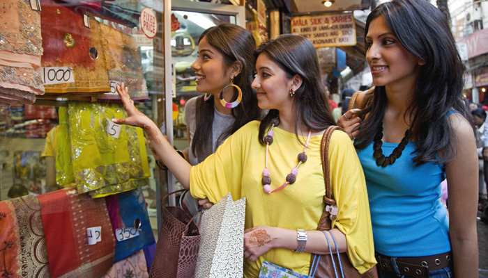 Indian women shopping