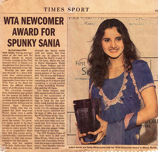 Sania Mirza wins the WTA Newcomer of the year award