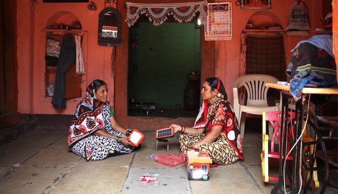 Rural women using solar products india