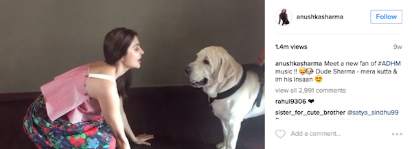 Anushka Sharma with her pet Dude