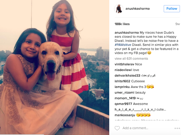 Anushka's nieces with her pet dog