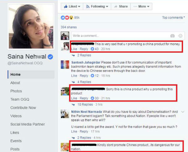 Saina Nehwal termed 'anti-national' for endorsing Chinese company
