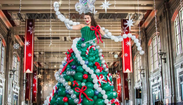 Molly Balloons Makes Christmas Tree Dress Out of 590 Balloons