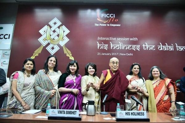 Dalai Lama meets women at FICCI Flo