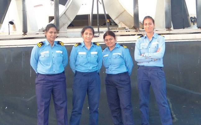 Indian female coast guard officers