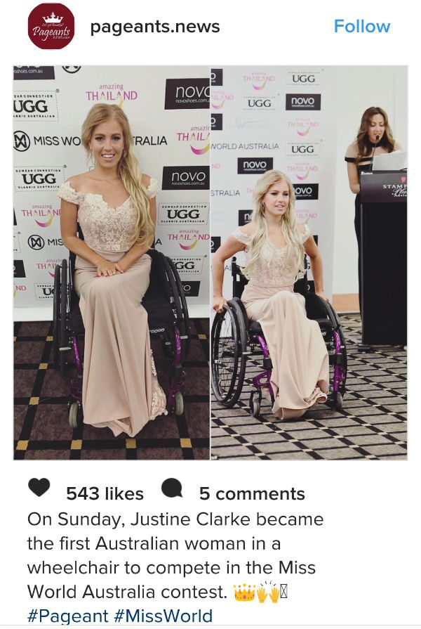 Woman in a wheelchair in Miss World Contest