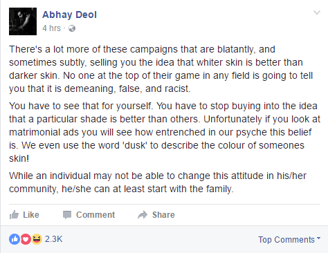 Abhay Deol against racism