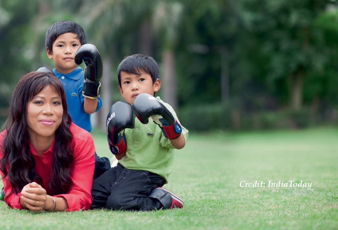 Mary Kom with Kids by IndiaToday, Indian Sportswomen Social Distancing