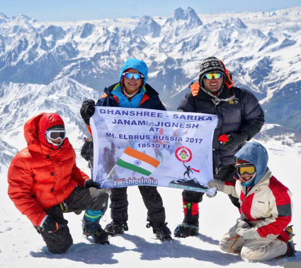 Dhanshree Mehta with family - Mt Elbrus