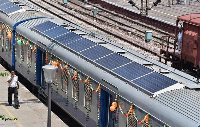India's first solar powered DEMU train // Pic credits: The Hindu