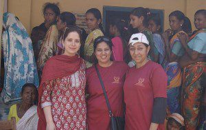 Nikita at a camp for women for cancer screening