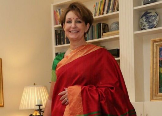 US envoy to India MaryKay Carlson in Kanjeevaram sari
