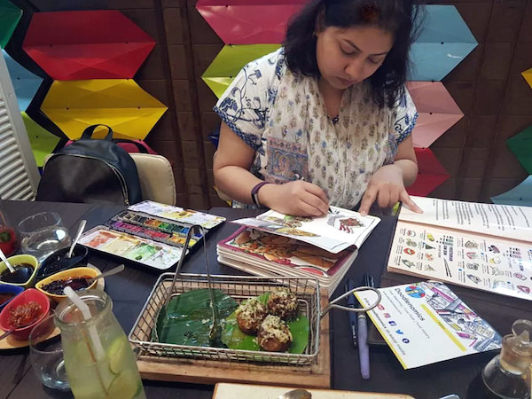 Sketching at Yum Yum Cha,New Delhi